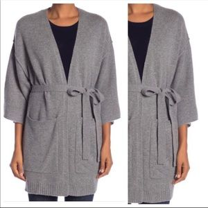 NWT Halogen Gray Cashmere Wrap Sweater OS